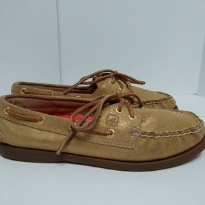 Sperry top sider gold glitter boat shoes